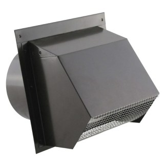 Hooded Wall Vent - Screen, Damper, Spring & Gasket - HD Powder Coat Black 6 inch -0