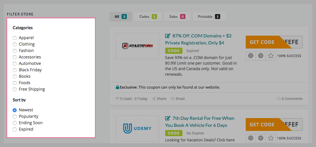 show the list of coupon categories on the sidebar on store page which help you easily filter the store follow each category