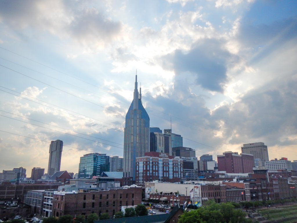 Sunset behind clouds of downtown Nashville - family-friendly itinerary