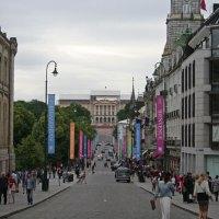 Oslo - Die Karl Johans Gate mit Blick auf das Schloss