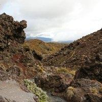 Szenen einer Wanderung durch Vulkan-Landschaft am Tongariro Vulkan