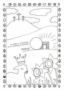 Ausmalbild Ostern mit Kreuzigung, Auferstehung, Osterlamm, Osterglocken, Ostereiern