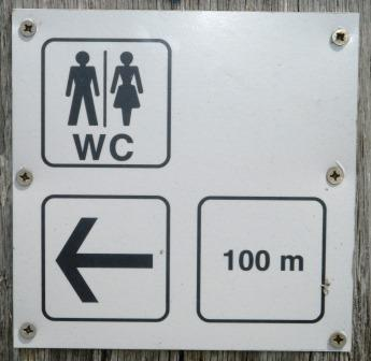 Toilette. In 100 Metern. Dann nochmal 400 Meter.