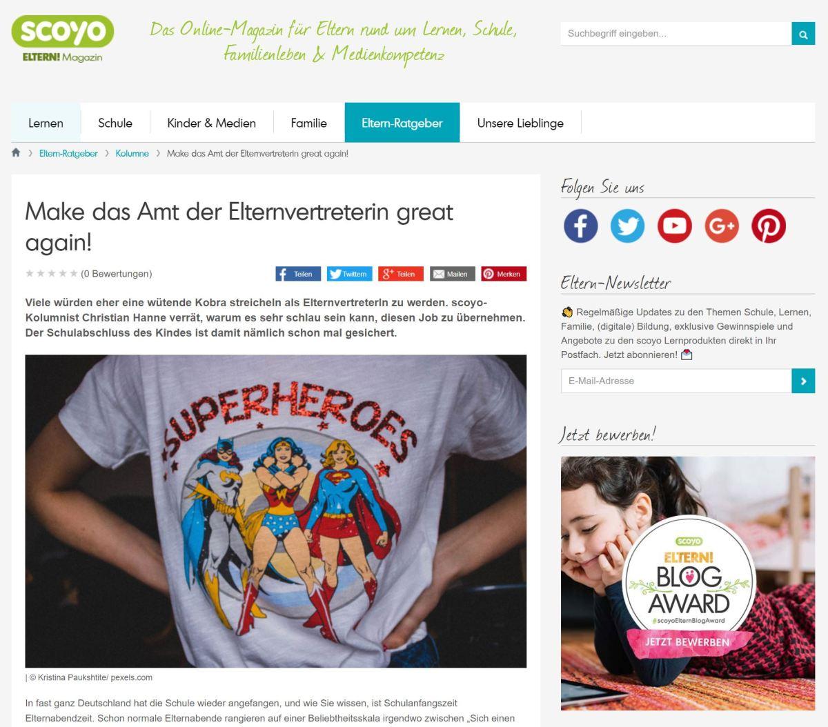 scoyo-Kolumne: Make das Amt der Elternvertreterin great again!