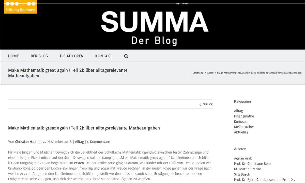 SUMMA-Kolumne: Make Mathematik great again (Teil 2): Über alltagsrelevante Matheaufgaben