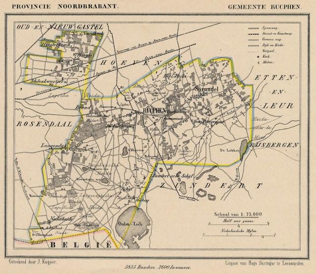 Rucphen omstreeks 1870 Kaart J. Kuijper