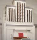 An image of the organ in Bureå Funeral Chapel
