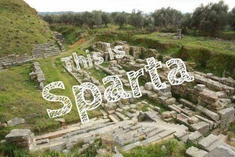 Sparta mit Kindern, antikes Griechenland Ruinen