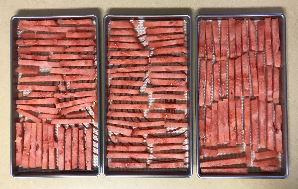 Freeze Drying Watermelon sticks