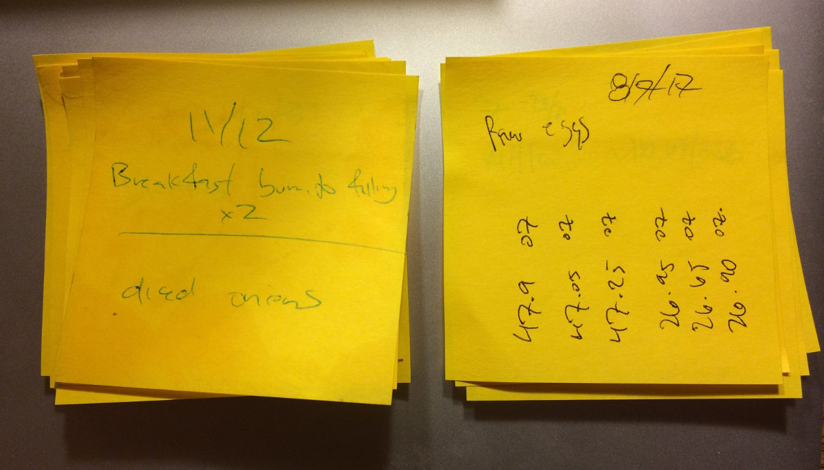sticky notes to remember freeze dryer cycles