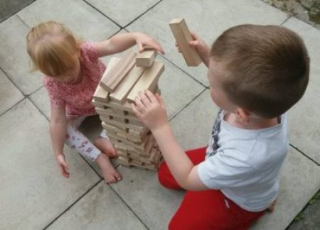 Playing Giant Genga with PrezzyBox Family Clan Blog