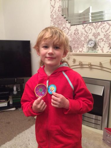 Sunday Snap Olivia Rainbow Badges 18th February 2018 Family Clan