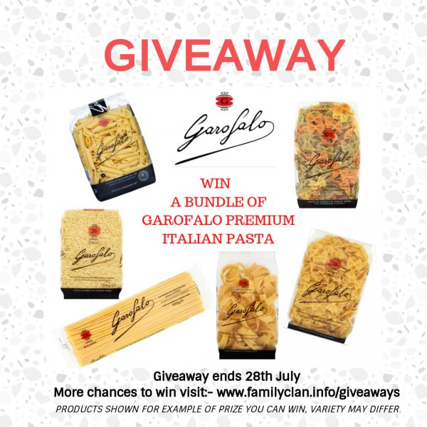 Win Garofalo Pasta Blog giveaway poster Family Clan