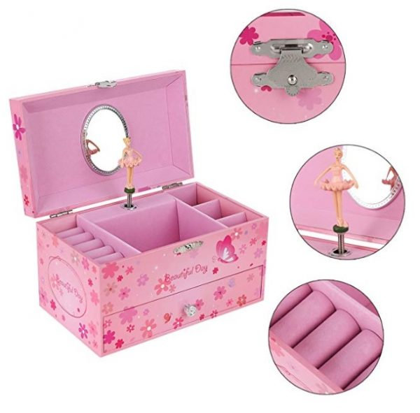 Songmics Ballerina Musical Jewelry Box