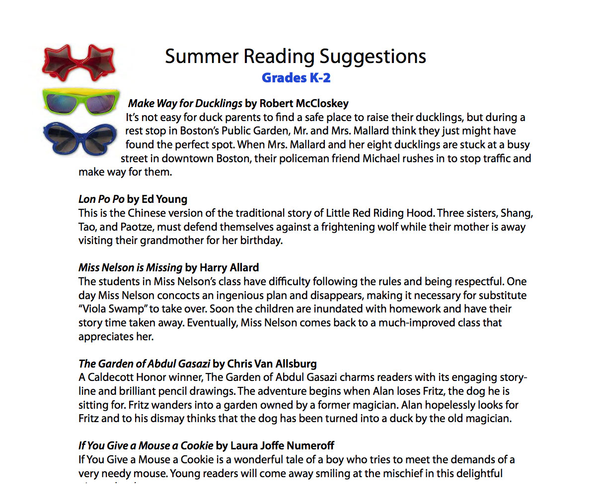 Summer Reading List For Kindergarten 1st 2nd Grade