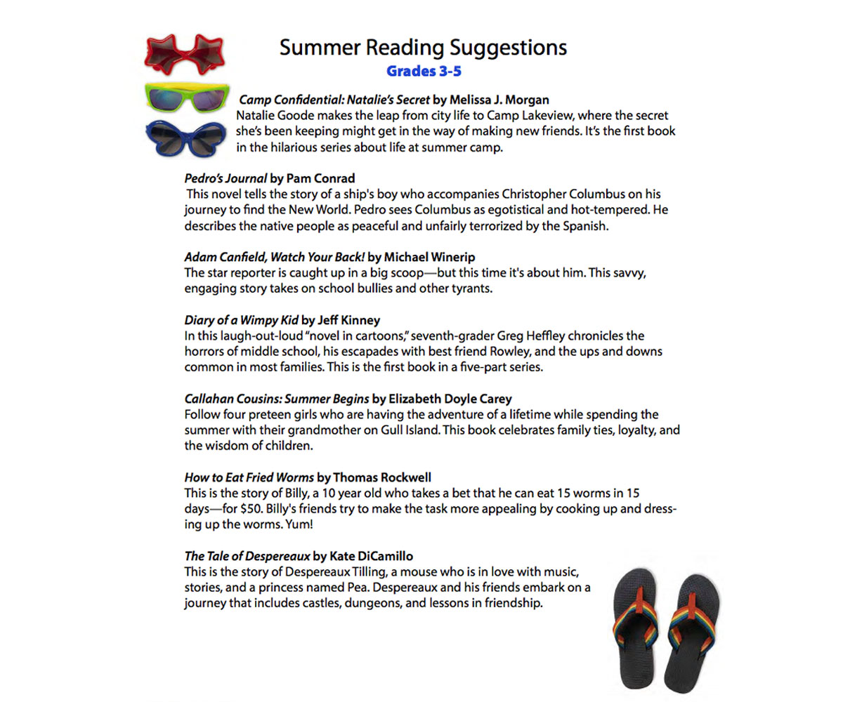 Summer Reading List For 3rd 4th 5th Grade Printable