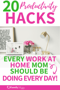 Looking for a work at home mom schedule and tips to stay productive even with kids at home? Get inspired with this list of 20 productivity hacks from other mom boss bloggers! #momboss #mompreneur #bloggersgetsocial #blogging #blogger #productivity