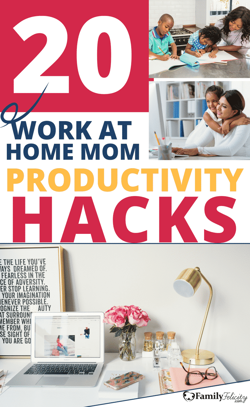 Working from home with children is challenging but very rewarding. And staying productive in your business and blog while taking care of littles ones is so important. Get 20 productivity hacks from other bloggers who are doing both well! #WorkatHome #Mompreneur