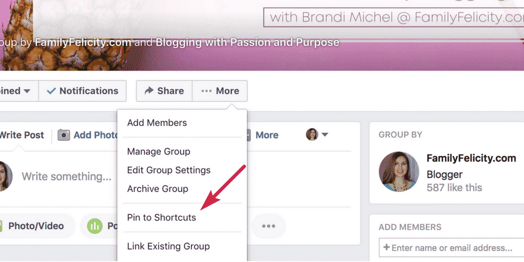 Pin to Shortcuts in Facebook Groups