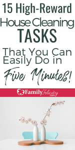 When you're too tired or busy to clean, try these fast house cleaning tasks to clean your house in 5 minutes each! #cleaning #cleaningtips #home #organization