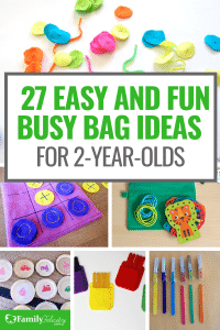 Looking for simple activities to keep your toddler busy and learning? This list of busy bags for 2 year olds will keep your little one busy and happy! #toddlers #activities