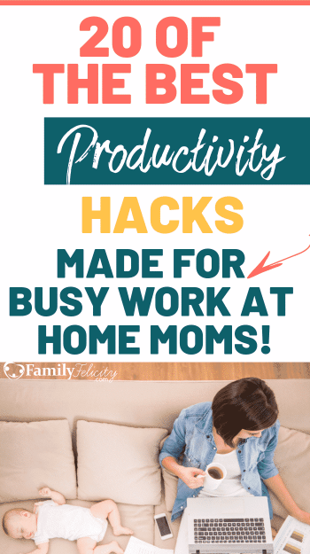 Working from home with kids can feel like a three ring circus with you getting nothing done! But it doesn't have to be that way. Get 20 of the best productivity hacks from other work at home moms like you! #productivity #blogging #workathomemom #momlife