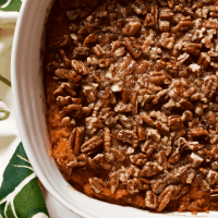 Bourbon sweet potato casserole with buttery pecans