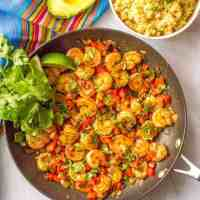 Quick + easy Mexican shrimp skillet
