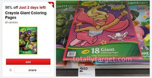 target crayola giant coloring pages as low as $1.