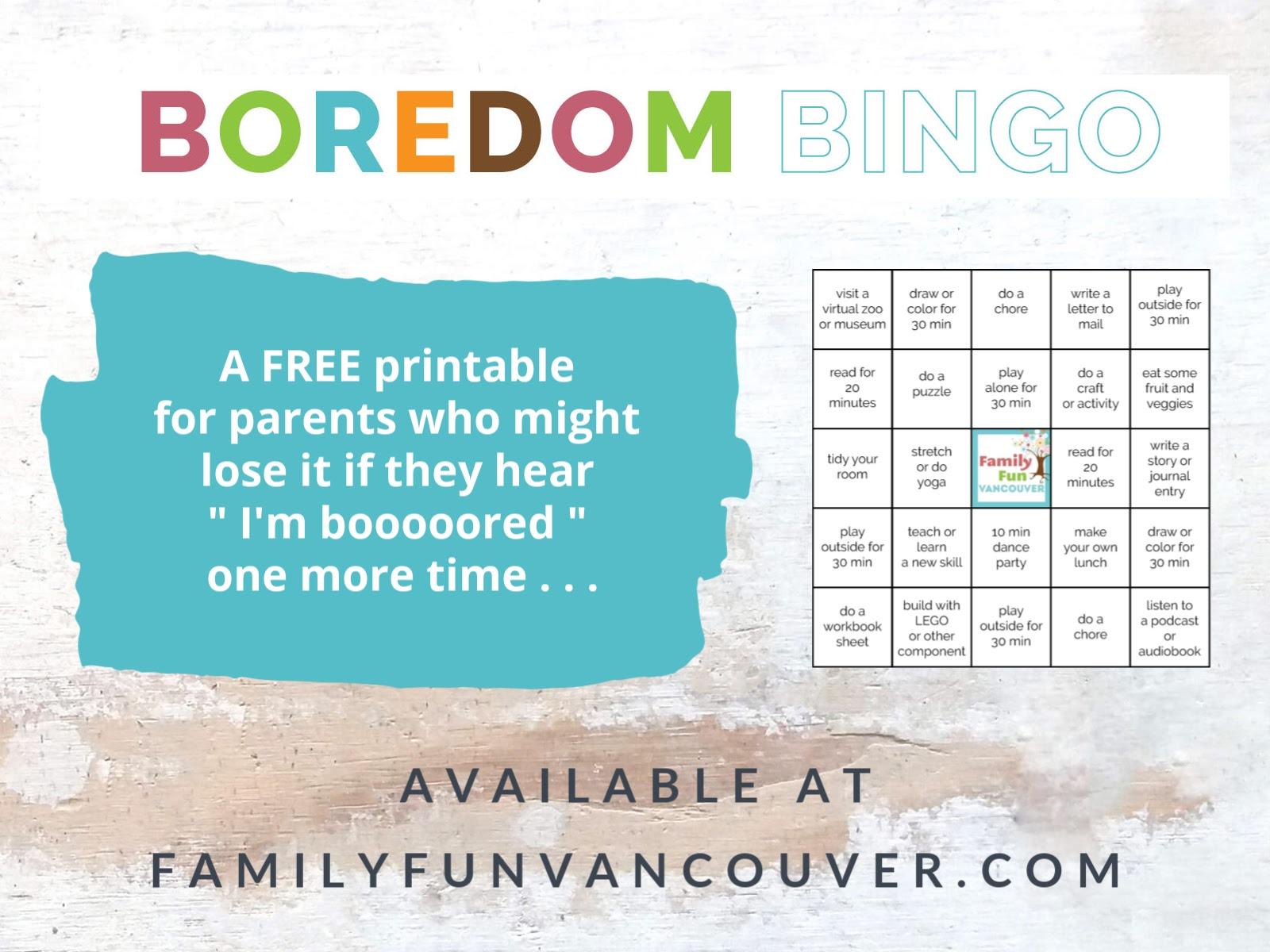 Boredom Bingo With Free Printable