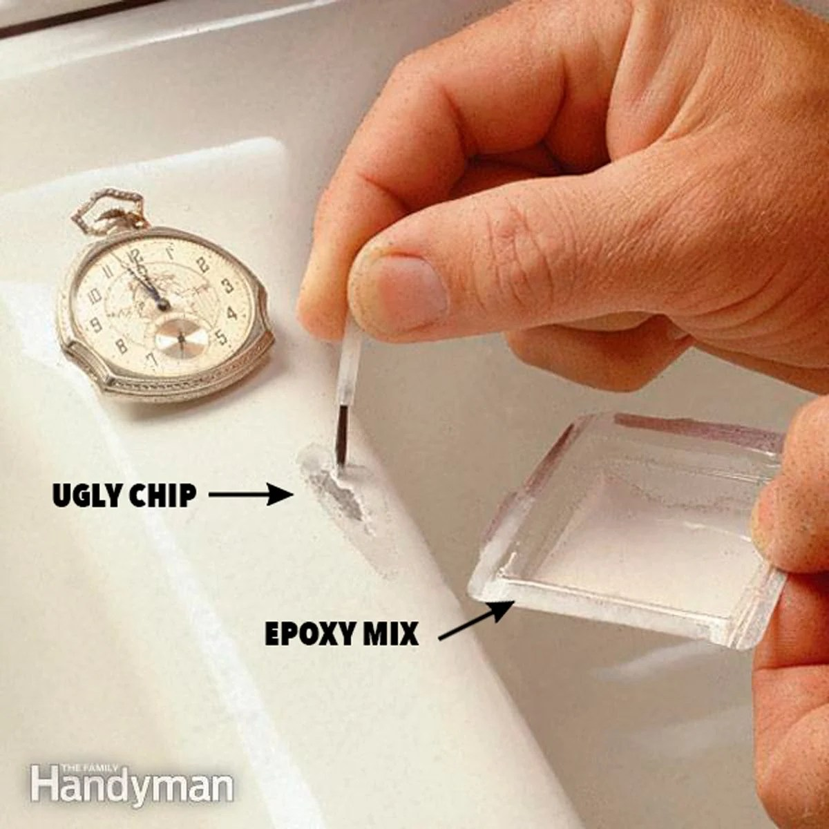 how to fix a chipped sink diy