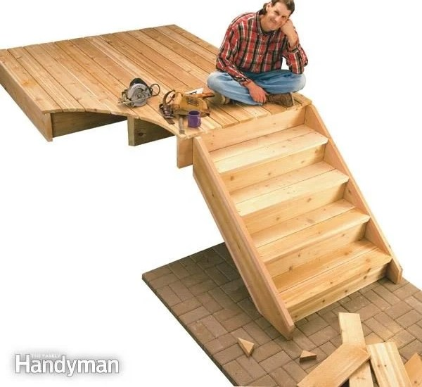 How To Build Deck Stairs The Family Handyman | 2 Step Outdoor Stairs | Landing | Exterior | Redwood Deck | Cantilever Deck | 8 Foot
