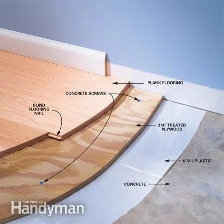 installing wood flooring over concrete