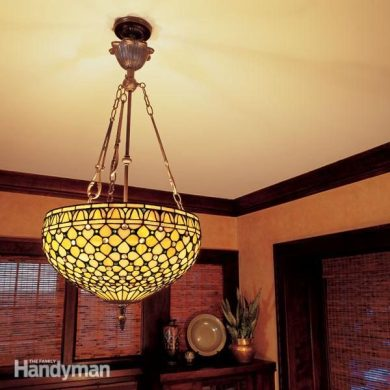How to Hang a Ceiling Light Fixture   The Family Handyman Nothing spoils a dinner party like a chandelier in the pasta or a sudden  blackout  Here s how to hang lights safely and securely