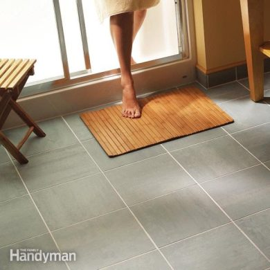 How to Lay Tile  Install a Ceramic Tile Floor In the Bathroom   The     floor tiling bathroom flooring