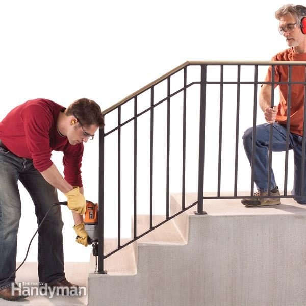 Safety First Install An Outdoor Stair Railing — The Family Handyman | Handrails For Outside Steps | Single Step | Rustic | Aluminum | Front Porch | Walkway