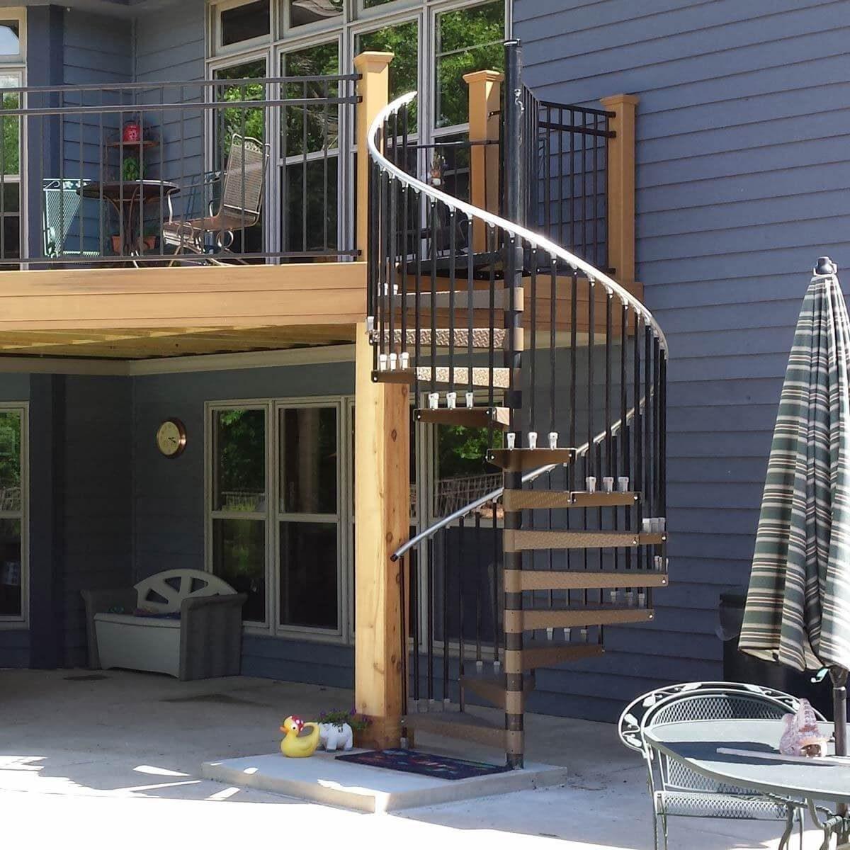 10 Inspiring Deck Designs—Big Small Family Handyman   Spiral Stairs Off Deck   Railing   Wood Deck   Metal   Stair Case   Stairway