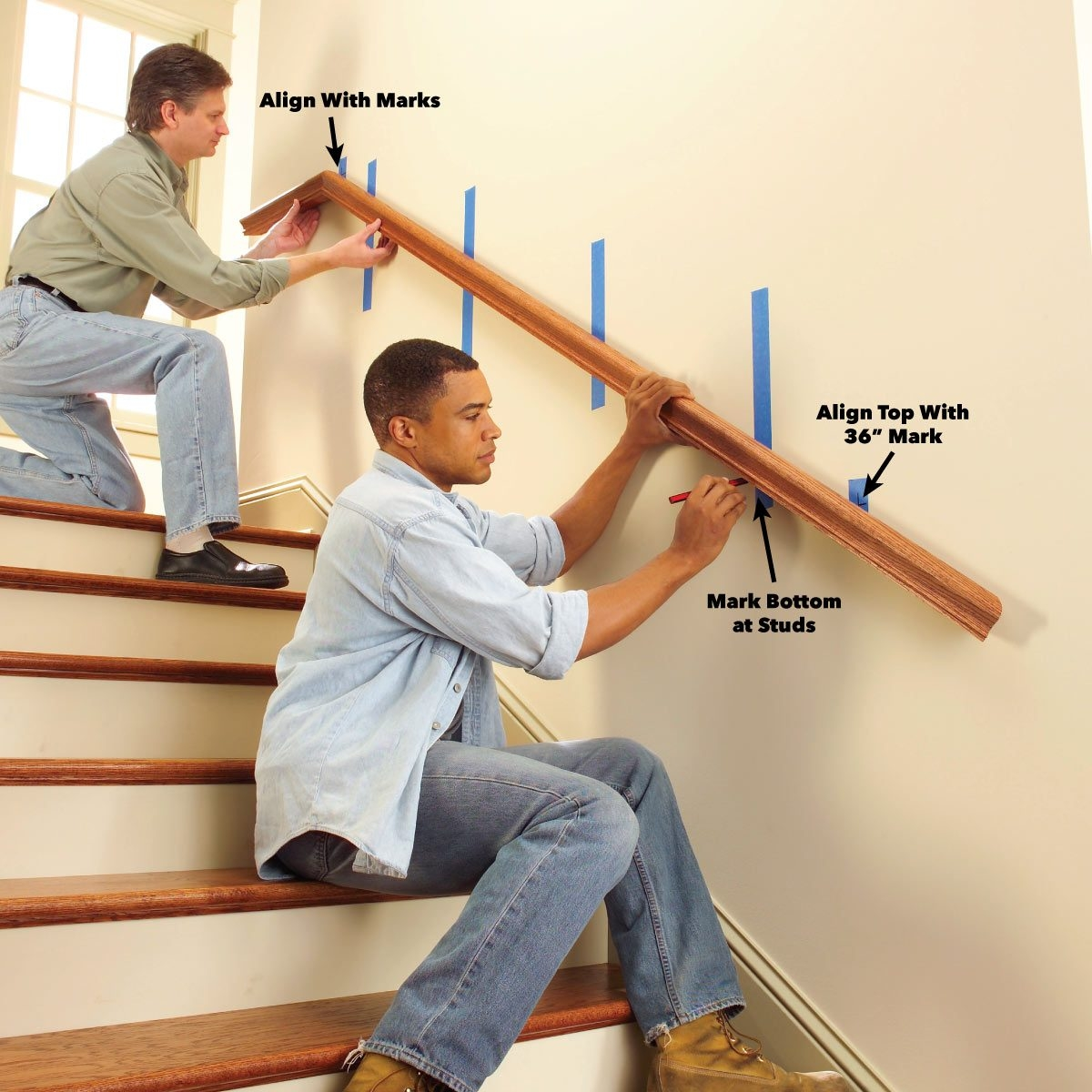 Install A New Stair Handrail | Wall Mounted Stair Railing | Exterior | Natural Wood | Interior | Wall Mount Window | Oak