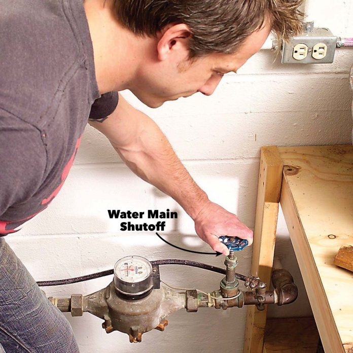 turn off water to house and prevent