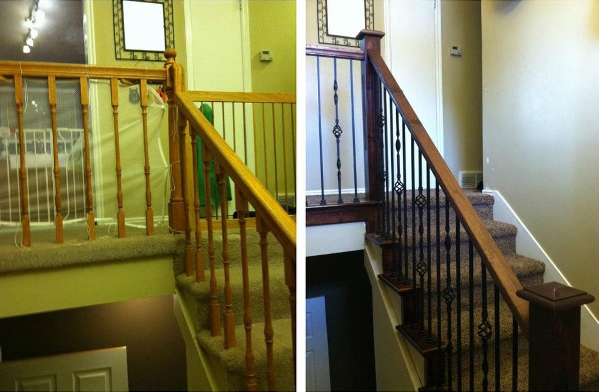 10 Ways To Freshen Up Outdated Banisters Family Handyman | Two Tone Stair Railing | White | Indoor | Antique | Mansion | Country Style