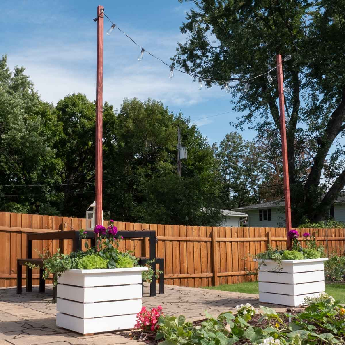 planter with string light pole diy