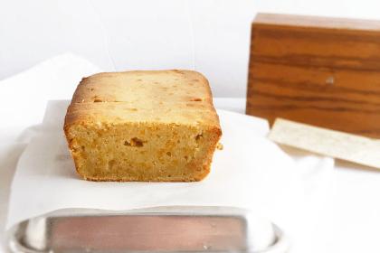 orange bread and vintage recipe box