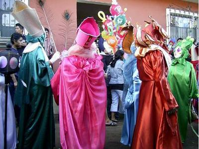Guatemalan people dress up in Christmas outfits
