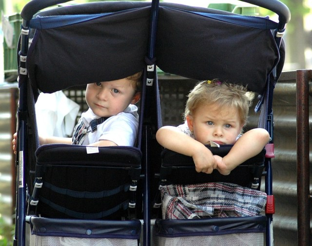 Side by side double strollers with umbrella
