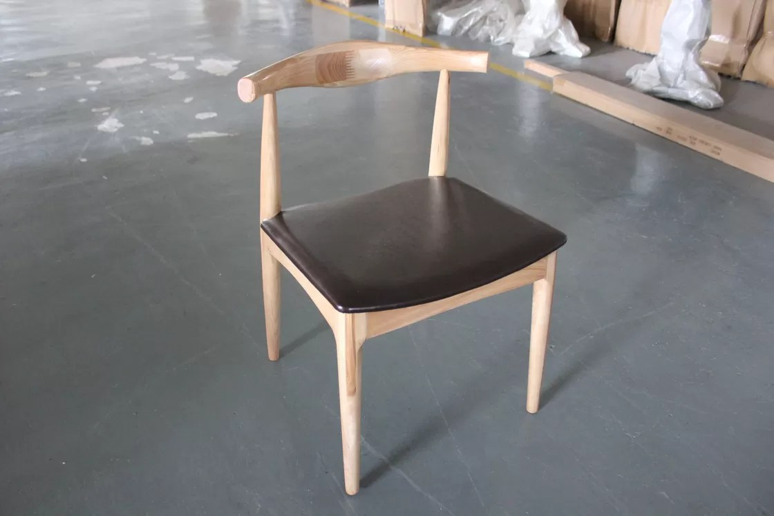 Vintage French Metal And Wood Leather Dining Chair For Cafe