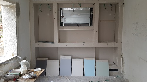 dining area carpentry unit and paint colour samples