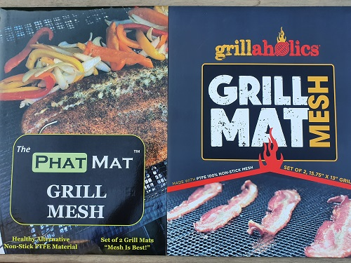 Two different PTFE Grill mesh mats. One from PhatMat and the other from Grillaholics