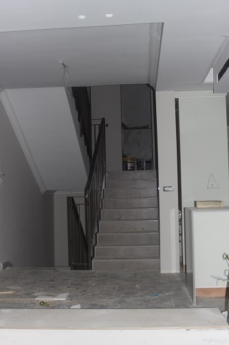 This was the stairs after tiling.