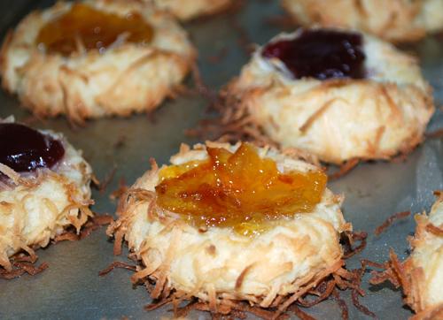 Coconut Jam Thumbprint Cookies by FamilySpice.com