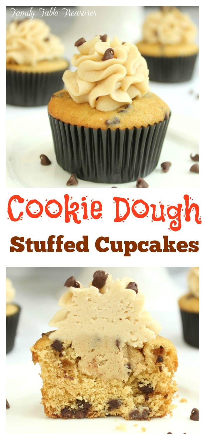 long pinnable image of cookie dough cupcakes